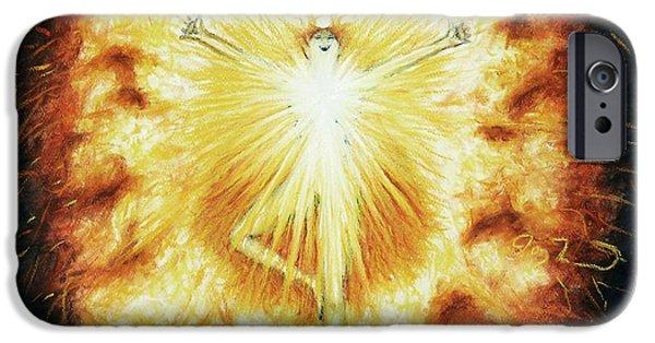 Spiritual Pastels iPhone Cases - Fire iPhone Case by Joy Landa