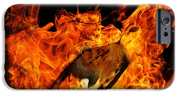 Ghosts Pyrography iPhone Cases - Fire Lion iPhone Case by Designer Look