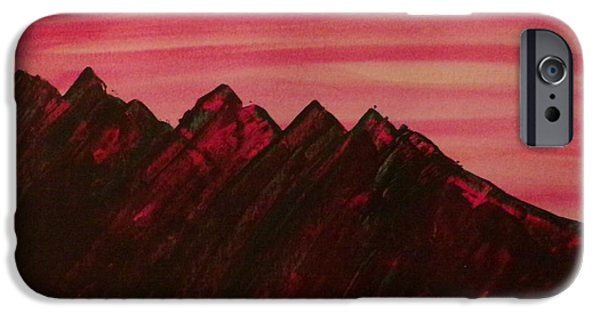 Turbulent Skies Paintings iPhone Cases - Fire mountain iPhone Case by Dallas Holloman