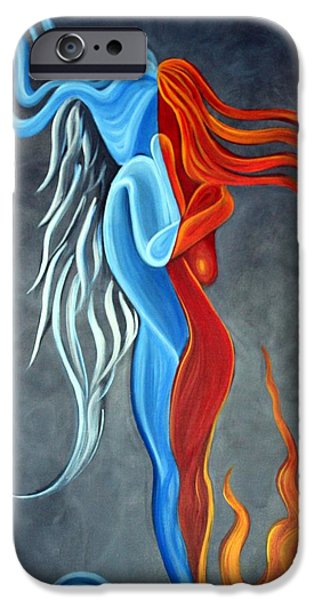 Yin Paintings iPhone Cases - Fire N Ice iPhone Case by Laura Barbosa