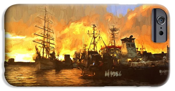 Tall Ship Mixed Media iPhone Cases - Fire On The Harbor iPhone Case by Georgiana Romanovna
