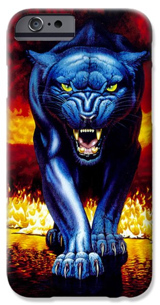 Animals Photographs iPhone Cases - Fire Panther iPhone Case by MGL Studio - Chris Hiett