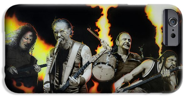Metallica Paintings iPhone Cases - Fire Rain on Me iPhone Case by Christian Chapman Art