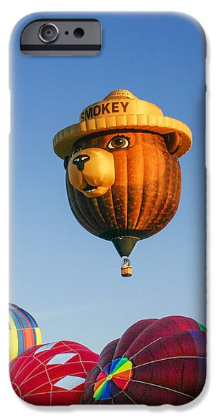 Recently Sold -  - Hot Air Balloon iPhone Cases - Smokey the Bear iPhone Case by Ron Metz
