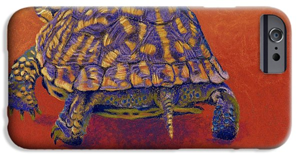 Universities Pastels iPhone Cases - Fire Walker - Box Turtle iPhone Case by Tracy L Teeter
