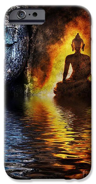 Buddhism iPhone Cases - Fire water Buddha iPhone Case by Tim Gainey