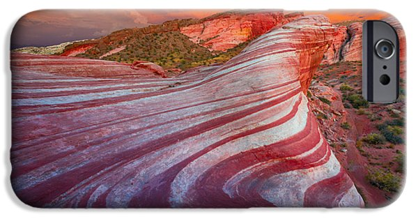 Drama iPhone Cases - Fire Wave iPhone Case by Inge Johnsson