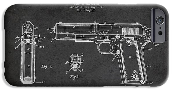 Weapon iPhone Cases - Firearm Patent Drawing from 1911 - Dark iPhone Case by Aged Pixel