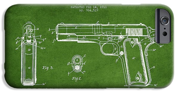 Weapon iPhone Cases - Firearm Patent Drawing from 1911 - Green iPhone Case by Aged Pixel