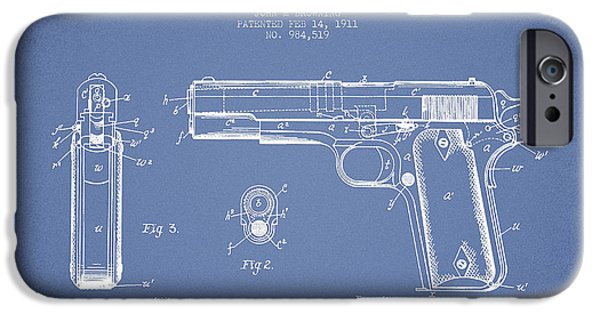 Weapon iPhone Cases - Firearm Patent Drawing from 1911 - Light Blue iPhone Case by Aged Pixel
