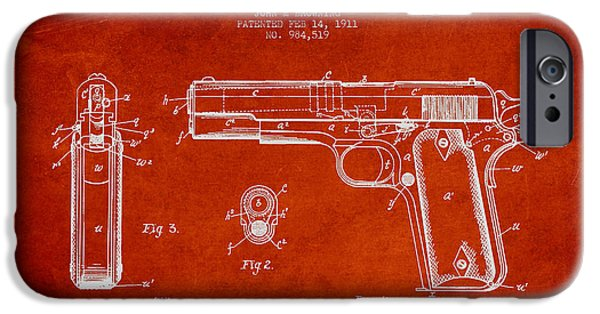 Weapon iPhone Cases - Firearm Patent Drawing from 1911 - Red iPhone Case by Aged Pixel