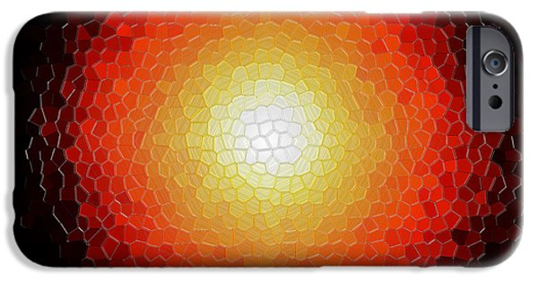 Radiating Light iPhone Cases - Fireball Sunburst A Tiffany Look Stain Glass iPhone Case by Andee Design
