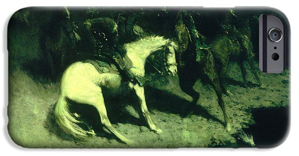 Frederic Remington iPhone Cases - Fired On iPhone Case by Frederic Remington