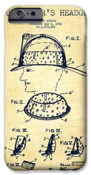 Gear Digital iPhone Cases - Firefighter Headgear Patent drawing from 1926 - Vintage iPhone Case by Aged Pixel