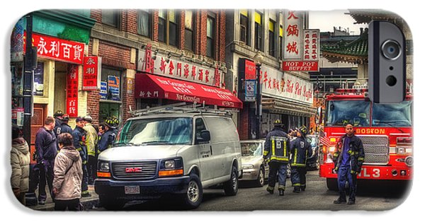 City. Boston iPhone Cases - Firefighters in Chinatown - Boston iPhone Case by Joann Vitali