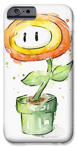 Geekery iPhone Cases - Fireflower Watercolor Painting iPhone Case by Olga Shvartsur