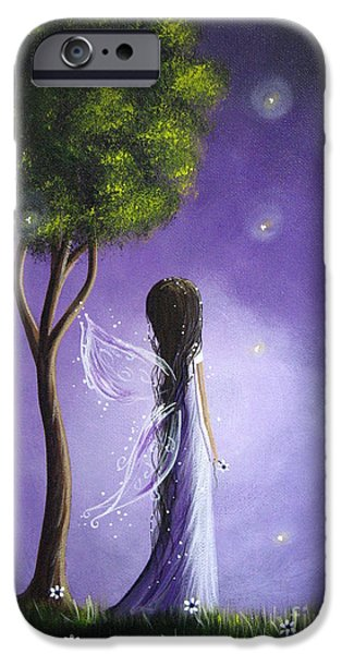 Whimsy Paintings iPhone Cases - Original Fairy Art by Shawna Erback iPhone Case by Shawna Erback