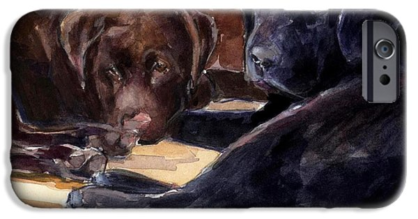 Chocolate Lab iPhone Cases - Firelight iPhone Case by Molly Poole