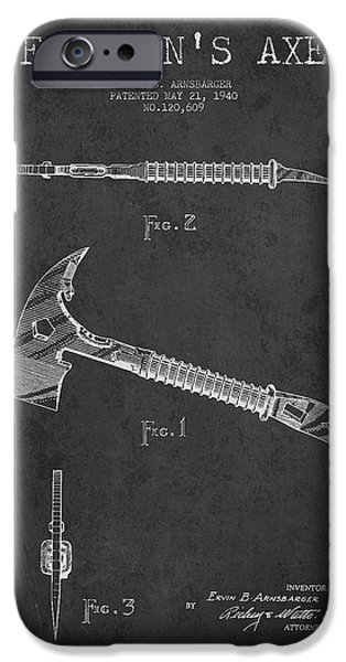 Gear iPhone Cases - Fireman Axe Patent drawing from 1940 iPhone Case by Aged Pixel