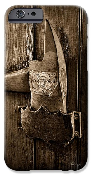 Axes iPhone Cases - Fireman - Fire Axe in Black and White iPhone Case by Paul Ward