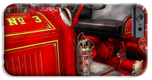 Report iPhone Cases - Fireman - Fire Engine No 3 iPhone Case by Mike Savad