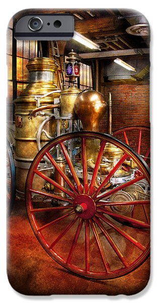 Suburbanscenes iPhone Cases - Fireman - One day a long time ago  iPhone Case by Mike Savad