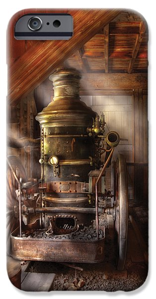 Fireman - Steam Powered Water Pump iPhone Case by Mike Savad
