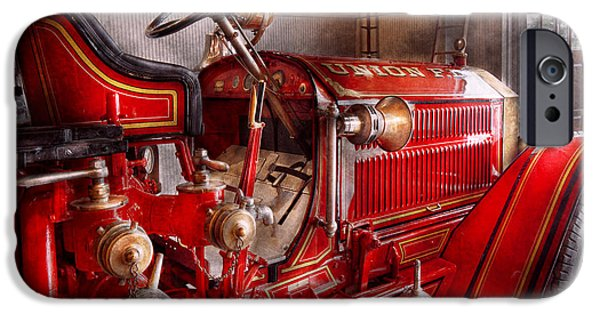 Suburbanscenes iPhone Cases - Fireman - Truck - Waiting for a call iPhone Case by Mike Savad