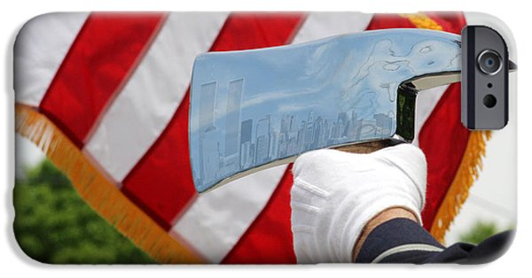 Twin Towers Nyc iPhone Cases - Firemans Ax - NYC Skyline Photoshopped - New York iPhone Case by Bob Savage