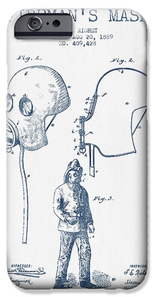 Gear iPhone Cases - Firemans Mask Patent from 1889 - Blue Ink iPhone Case by Aged Pixel