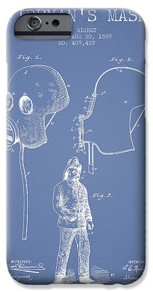 Gear iPhone Cases - Firemans Mask Patent from 1889 - Light Blue iPhone Case by Aged Pixel