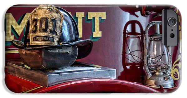 Axes iPhone Cases - Firemen - Fire Helmet Lieutenant iPhone Case by Paul Ward