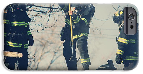 Candid Photographs iPhone Cases - Firemen iPhone Case by Laurie Search