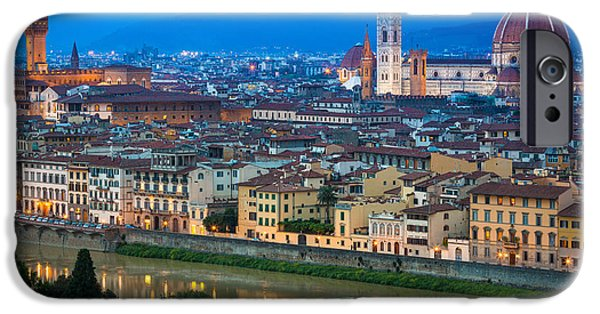 Tuscan Sunset iPhone Cases - Firenze by Night iPhone Case by Inge Johnsson