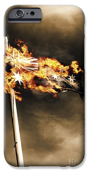 Civil Liberties iPhone Cases - Fires of Australian oppression iPhone Case by Ryan Jorgensen