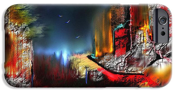 Abstract Digital Digital Art iPhone Cases - Firestonehege iPhone Case by Francoise Dugourd-Caput