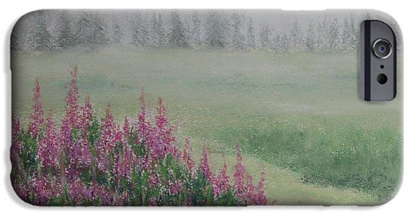 Fog Mist Pastels iPhone Cases - Fireweeds Still In The Mist iPhone Case by Stanza Widen