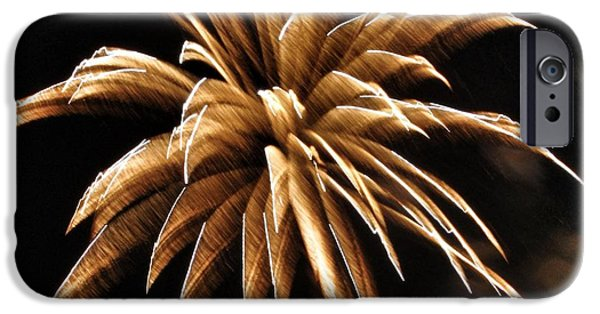 Firework iPhone Cases - Firework Abstract - Golden Brown iPhone Case by Marianna Mills
