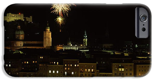 Fireworks iPhone Cases - Firework Display Over A Fort iPhone Case by Panoramic Images