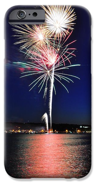 Canandaigua Lake iPhone Cases - Firework Reflections iPhone Case by Melanie Bellis