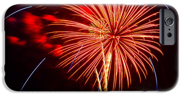 4th July iPhone Cases - Fireworks 13 iPhone Case by Paul Freidlund