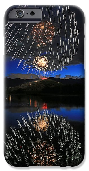Blue Fireworks iPhone Cases - Fireworks above Memorial Hill. iPhone Case by Johnny Adolphson