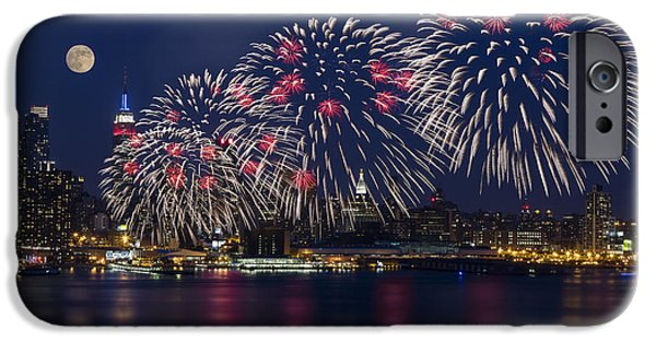 Full Moon iPhone Cases - Fireworks and Full Moon Over New York City iPhone Case by Susan Candelario
