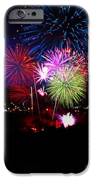 Independance Day iPhone Cases - Fireworks and Lightning iPhone Case by Bruce Denis