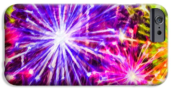 4th July Paintings iPhone Cases - Fireworks At Night 7 iPhone Case by Lanjee Chee