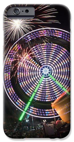 Independance Day iPhone Cases - Fireworks Bursting Over a Ferris Wheel Carnival Ride iPhone Case by John Franco