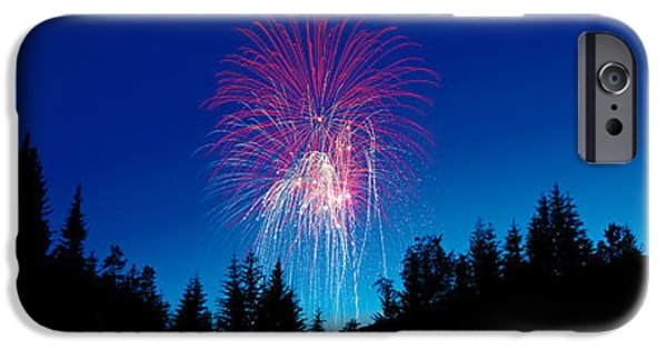 Pyrotechnics iPhone Cases - Fireworks, Canada Day, Banff National iPhone Case by Panoramic Images