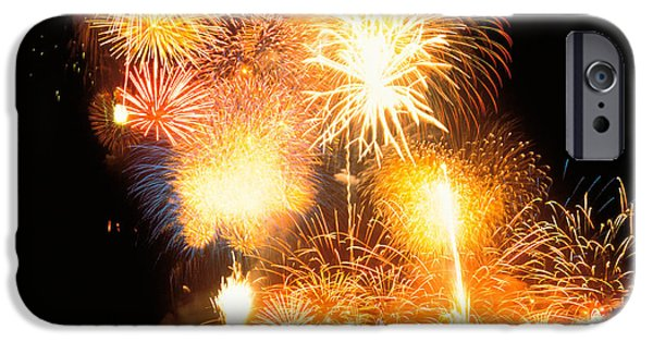 Fireworks iPhone Cases - Fireworks Display In Night iPhone Case by Panoramic Images