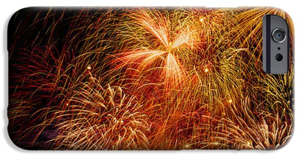 Fireworks iPhone Cases - Fireworks Exploding At Night, Luxembourg iPhone Case by Panoramic Images