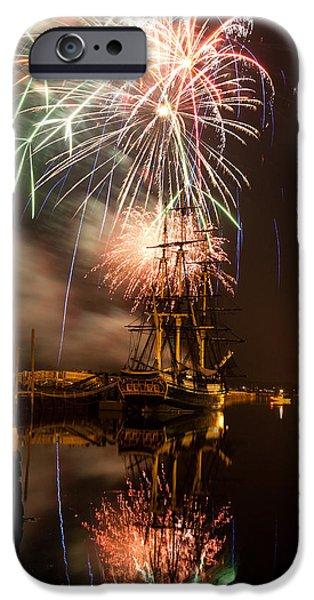 Fireworks exploding over Salem's Friendship iPhone Case by Jeff Folger